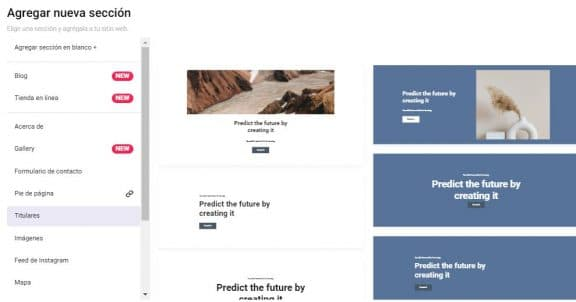 agregar una sección en una página web Zyro