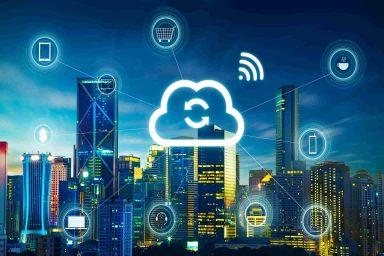 Cloud computing ciudad de fondo
