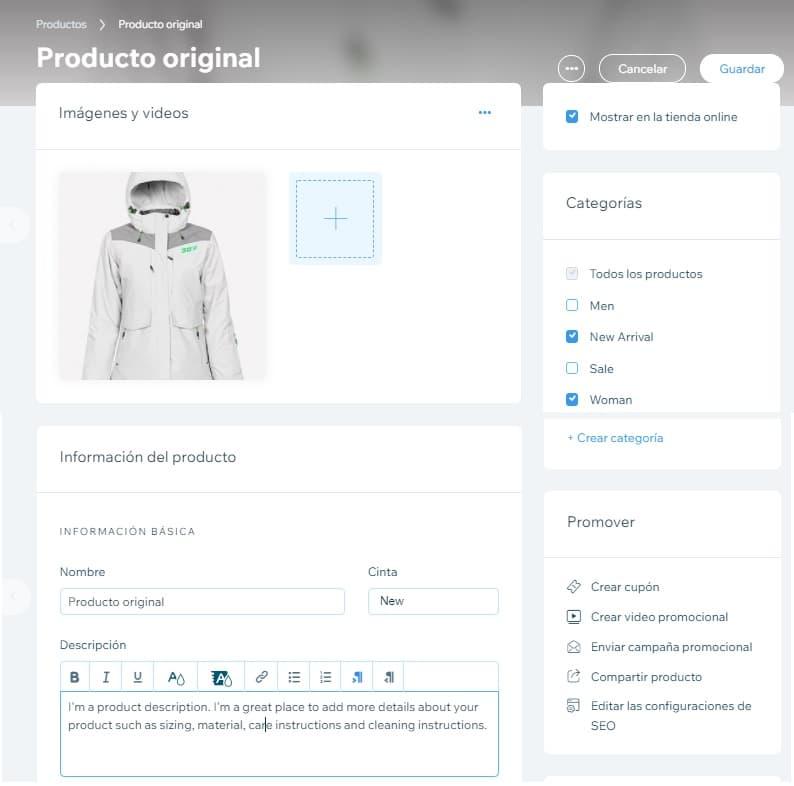 Panel donde se personaliza un producto de una tienda online en Wix