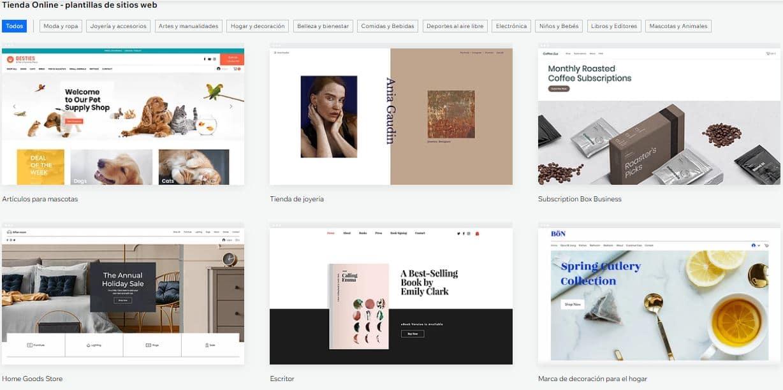 Selección de plantillas para tienda online