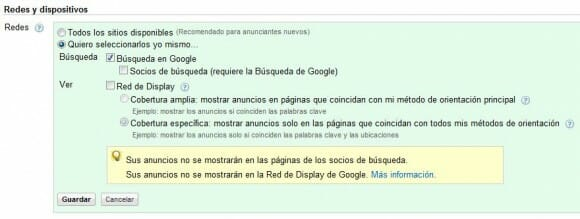Redes y dispositivos Adwords