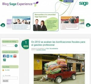 Blog Sage, un buen ejemplo de Blog de una empresa con contenidos de calidad