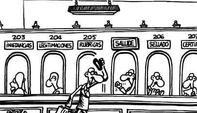 Tira cómica de Forges sobre la burocracia en España