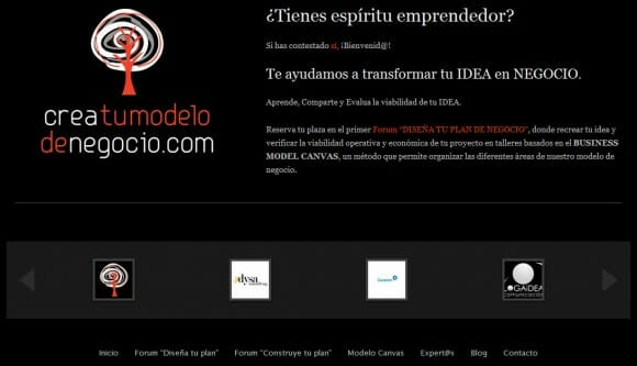 Captura de pantalla de la web creatumodelodenegocio
