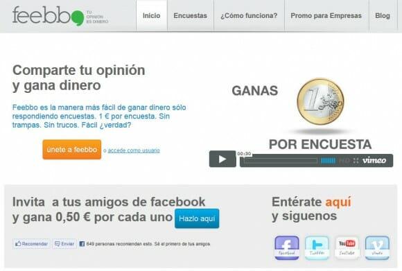 Captura de pantalla de Feebbo, servicio segmentado de encuestas