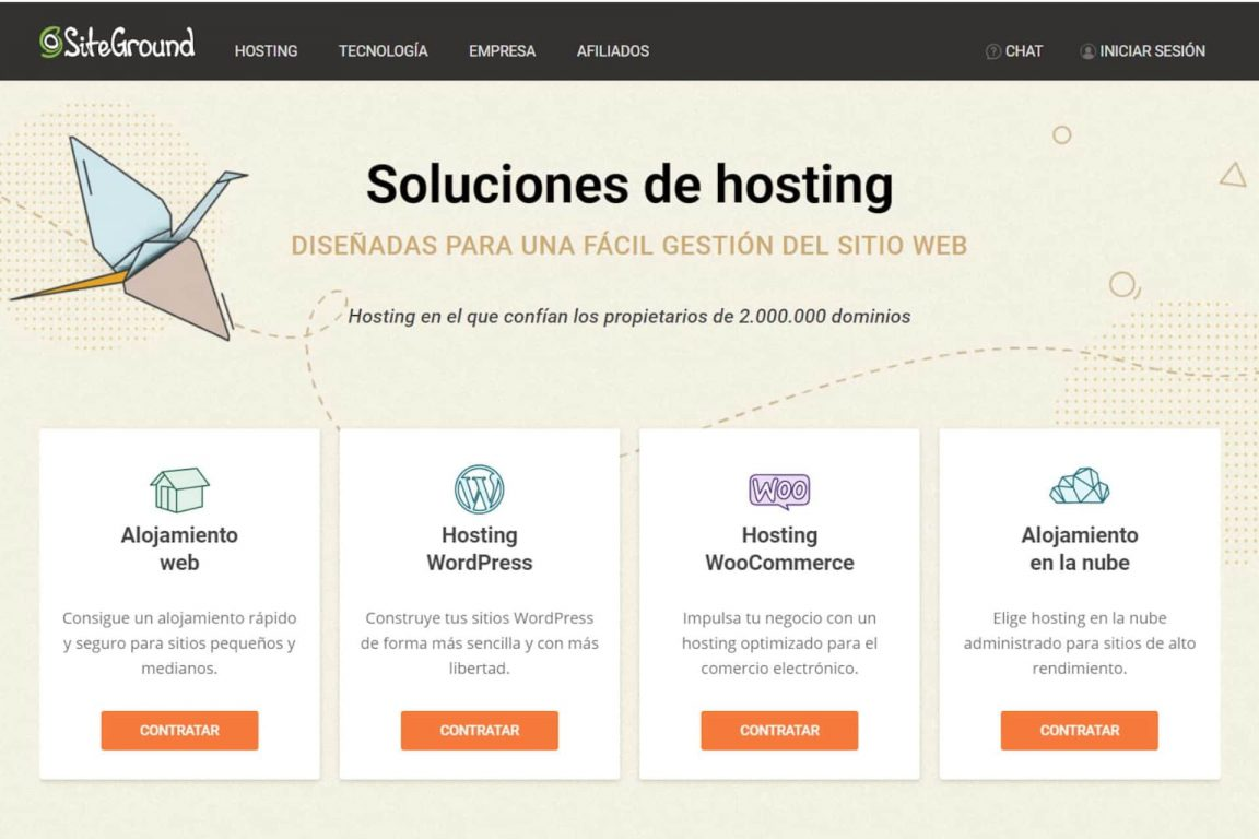 planes del Hosting Wordpress de Siteground
