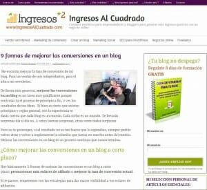 Ingresos al Cuadrado, un blog personal que posiciona la marca personal de su autor con excelentes contenidos