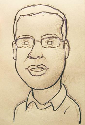 Caricatura de Jorge Ávila, emprendedor mexicano
