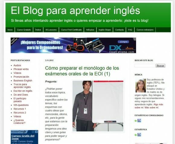 Capture d'écran du blog pour apprendre l'anglais en tant que représentant de Enslaving Business