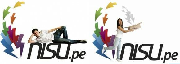 Originales fotos con el logo de nisu.pe, de sus fundadores Nicolás y Sully
